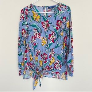 4/20$ Blue pinstriped floral blouse size small